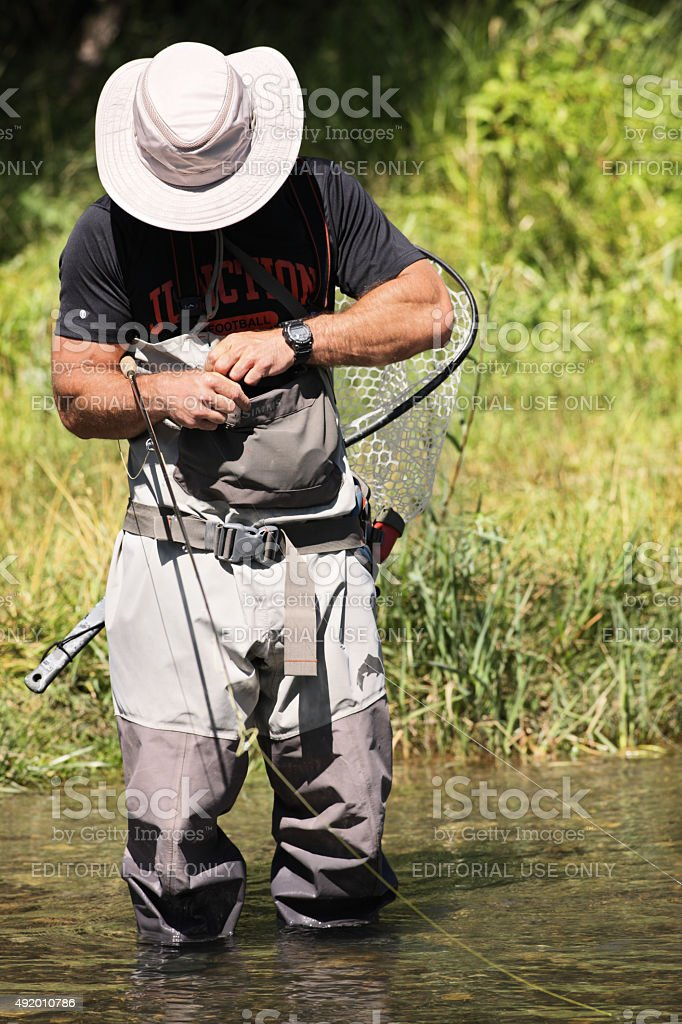 Fly-Fishing Fisherman Trout Stream stock photo