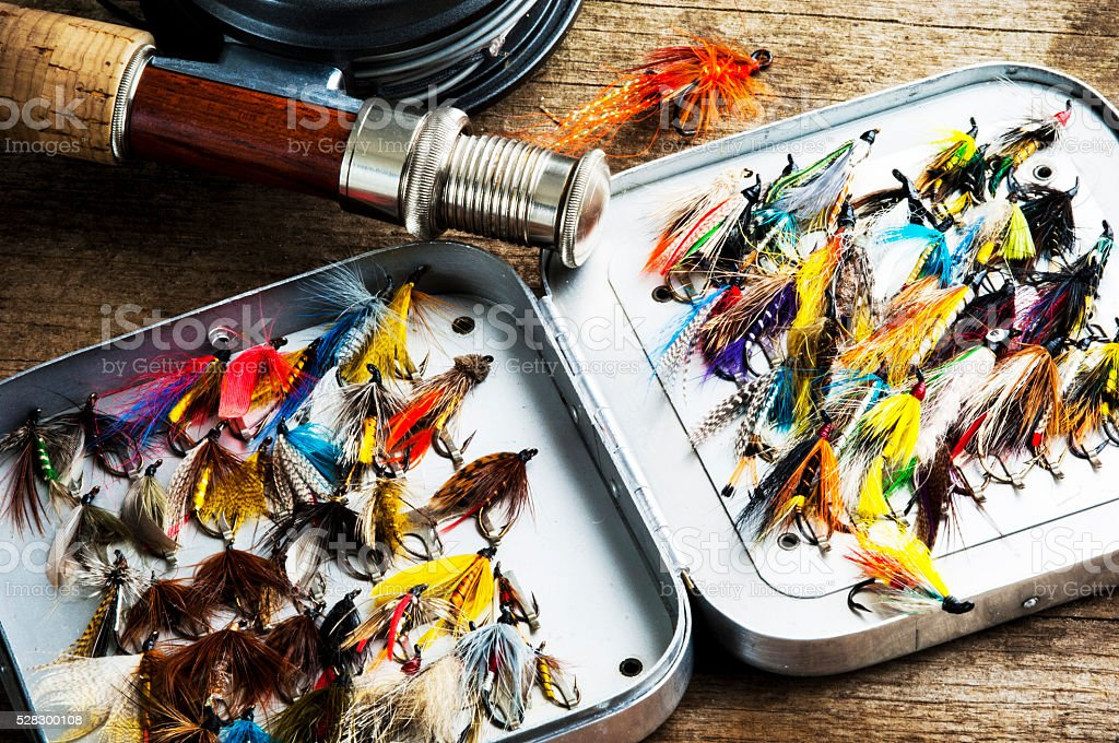Fly-Fishing flies in a classic fly box stock photo