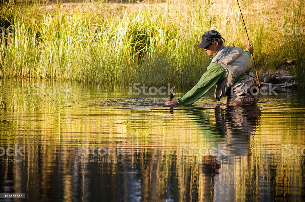 Fly-Fishing for Trout at Fall in Colorado with Reflection stock photo