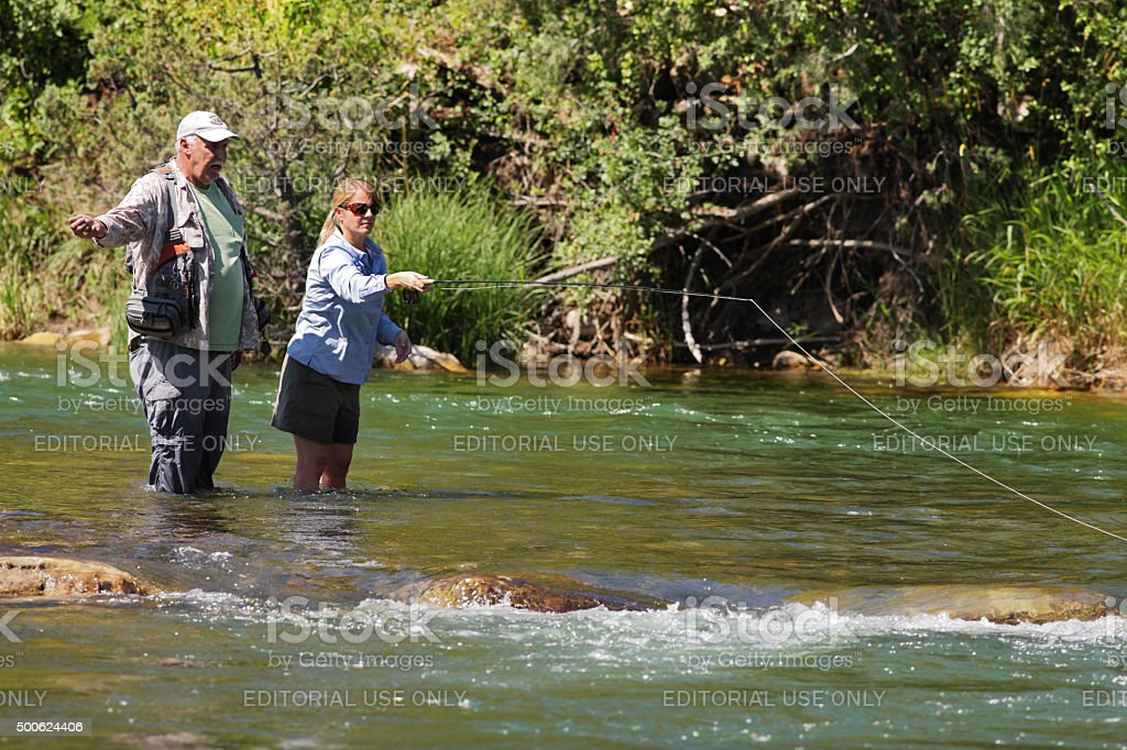Fly-Fishing Guide Female Angler stock photo