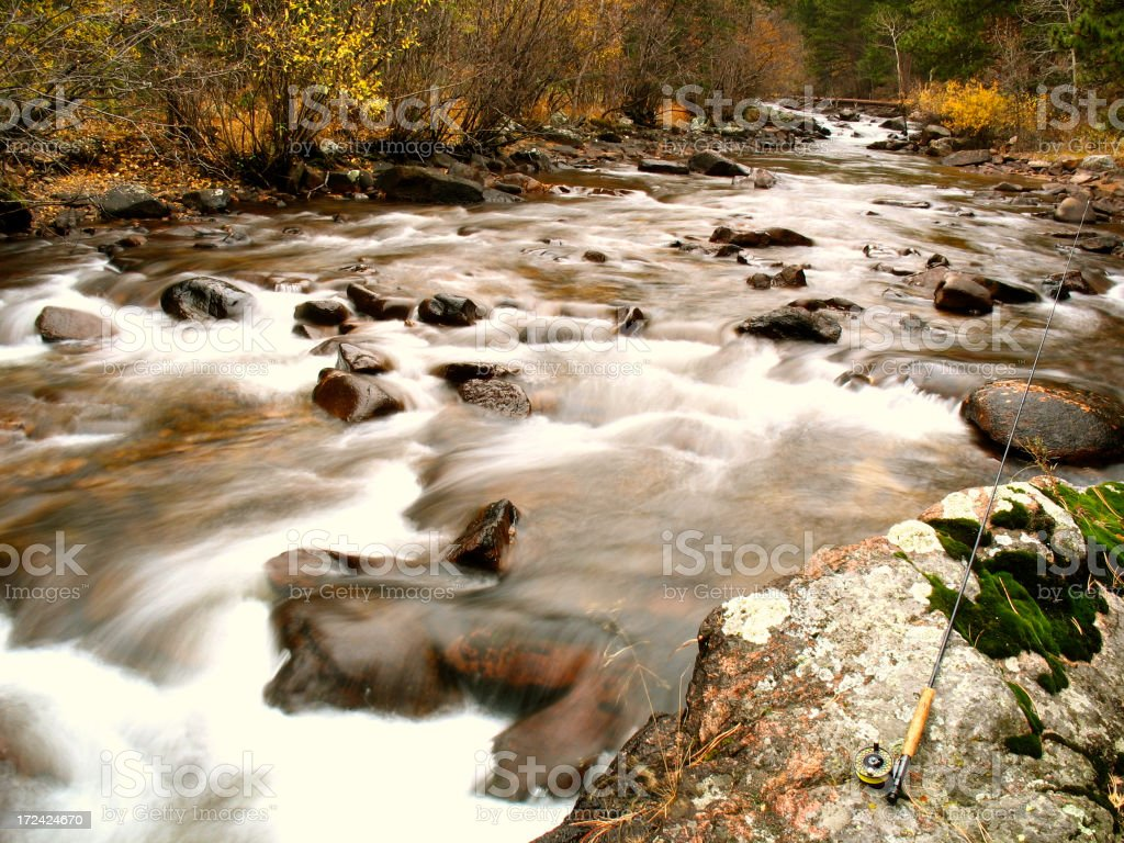 Flyfishing in Fall royalty-free stock photo