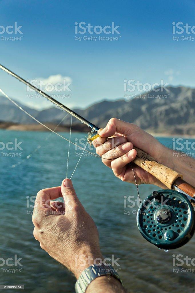 Fly-fishing stock photo