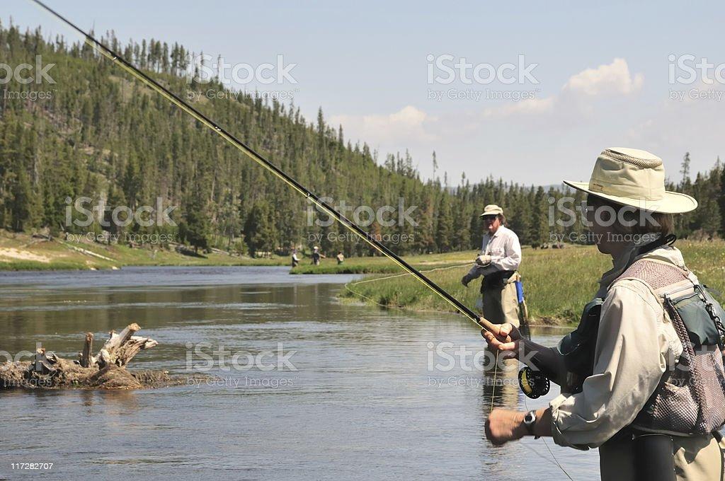 flyfishing senior couple royalty-free stock photo