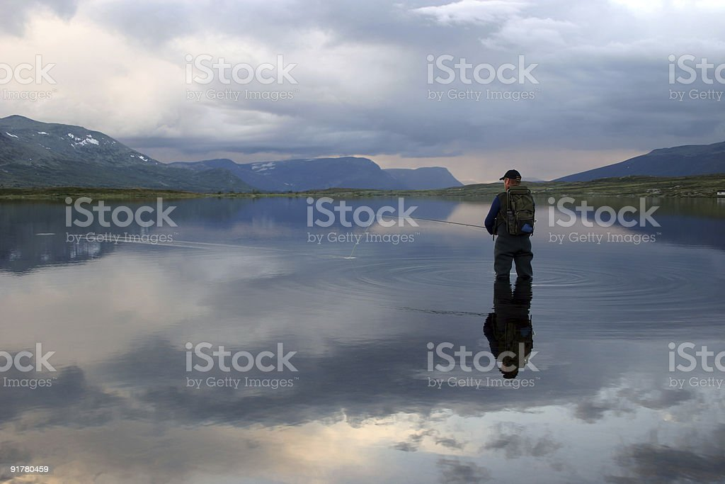 Flyfishing the Mountains royalty-free stock photo
