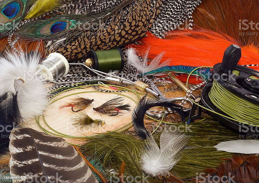 fly-fishing &  tying fly royalty-free stock photo