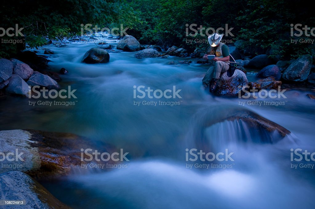 Fly-Fishing with Motion Blur royalty-free stock photo