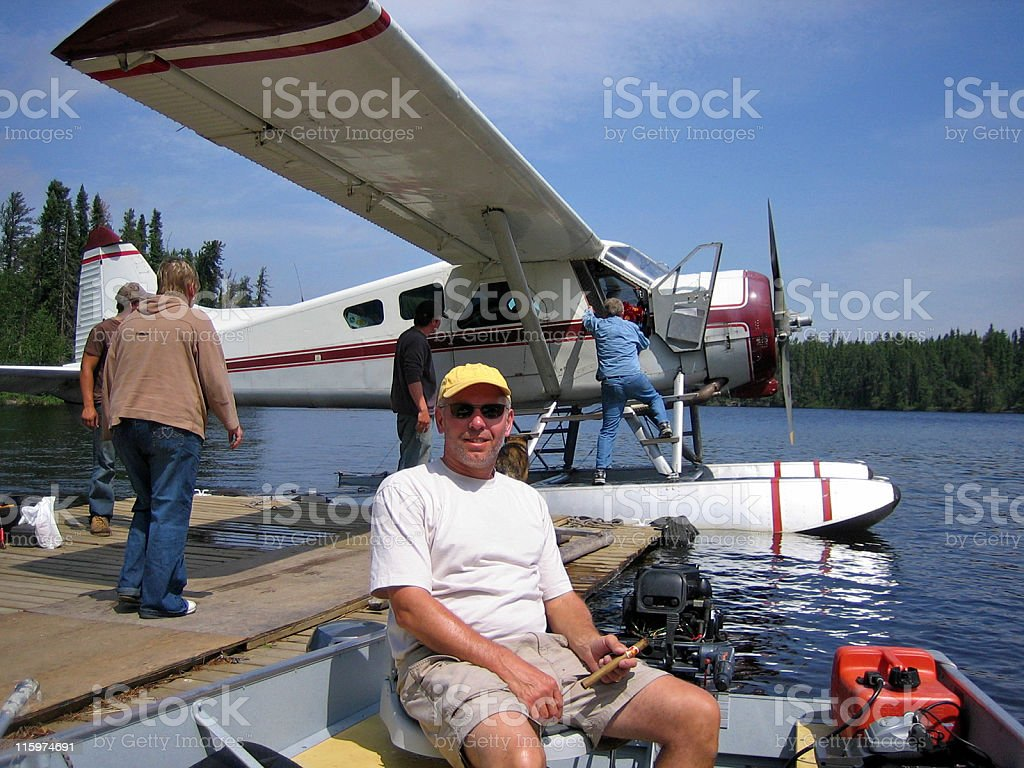 Fly-in fishing stock photo