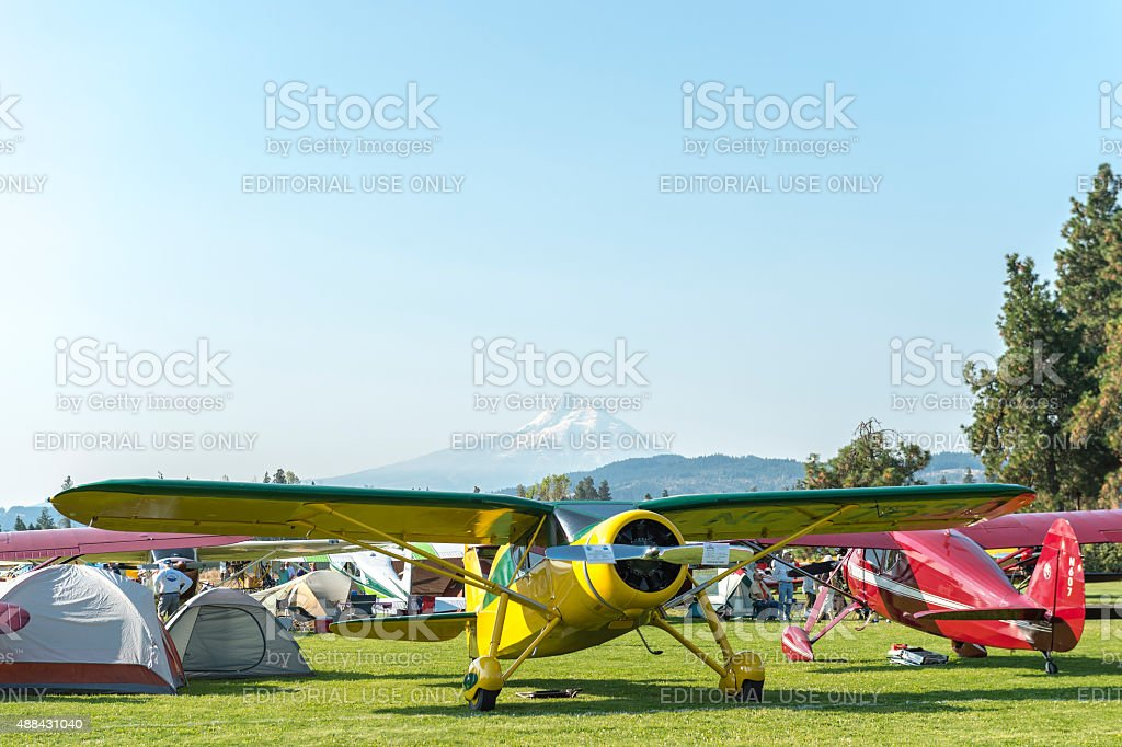 Fly-In Hood River Oregon Airplane on Display Mt Adams background stock photo