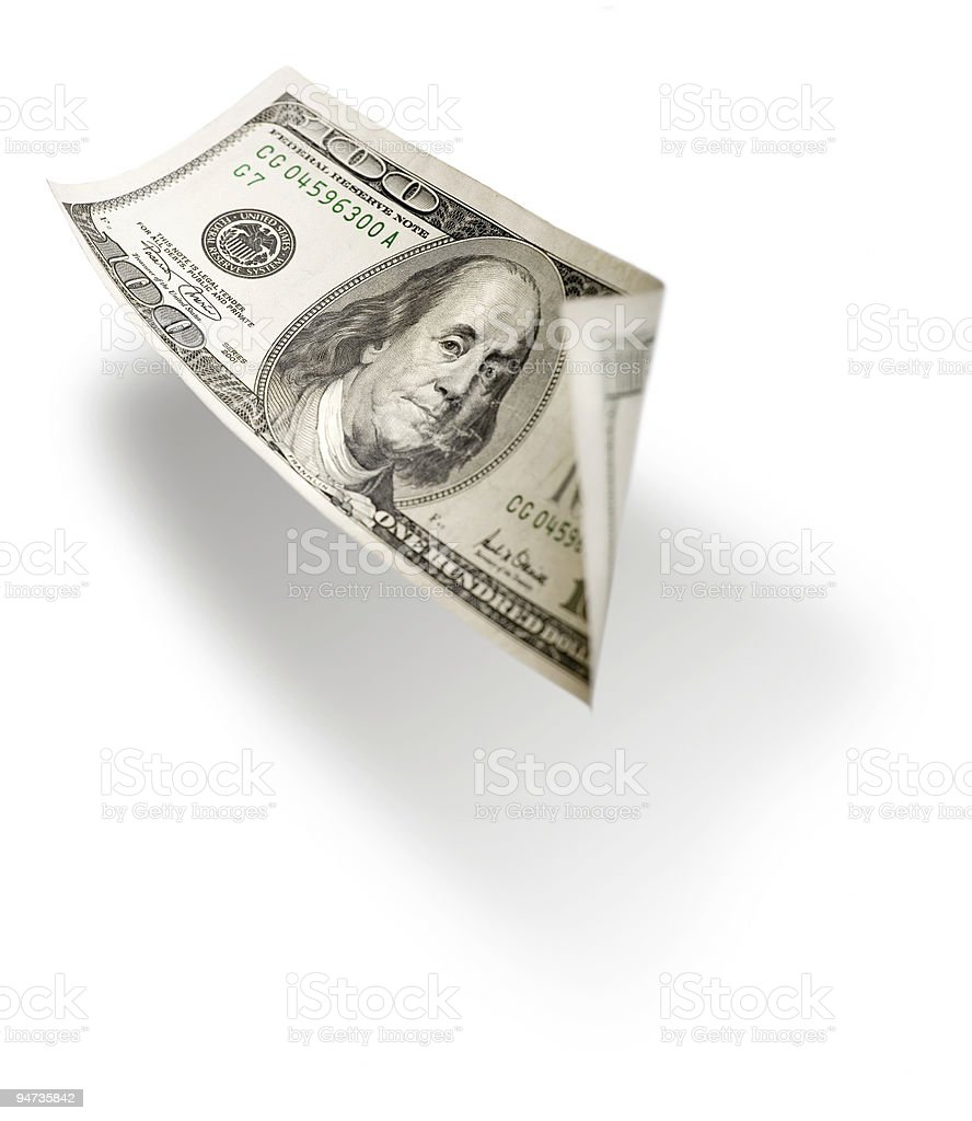 Flying 100 dollar bill isolated on white royalty-free stock photo