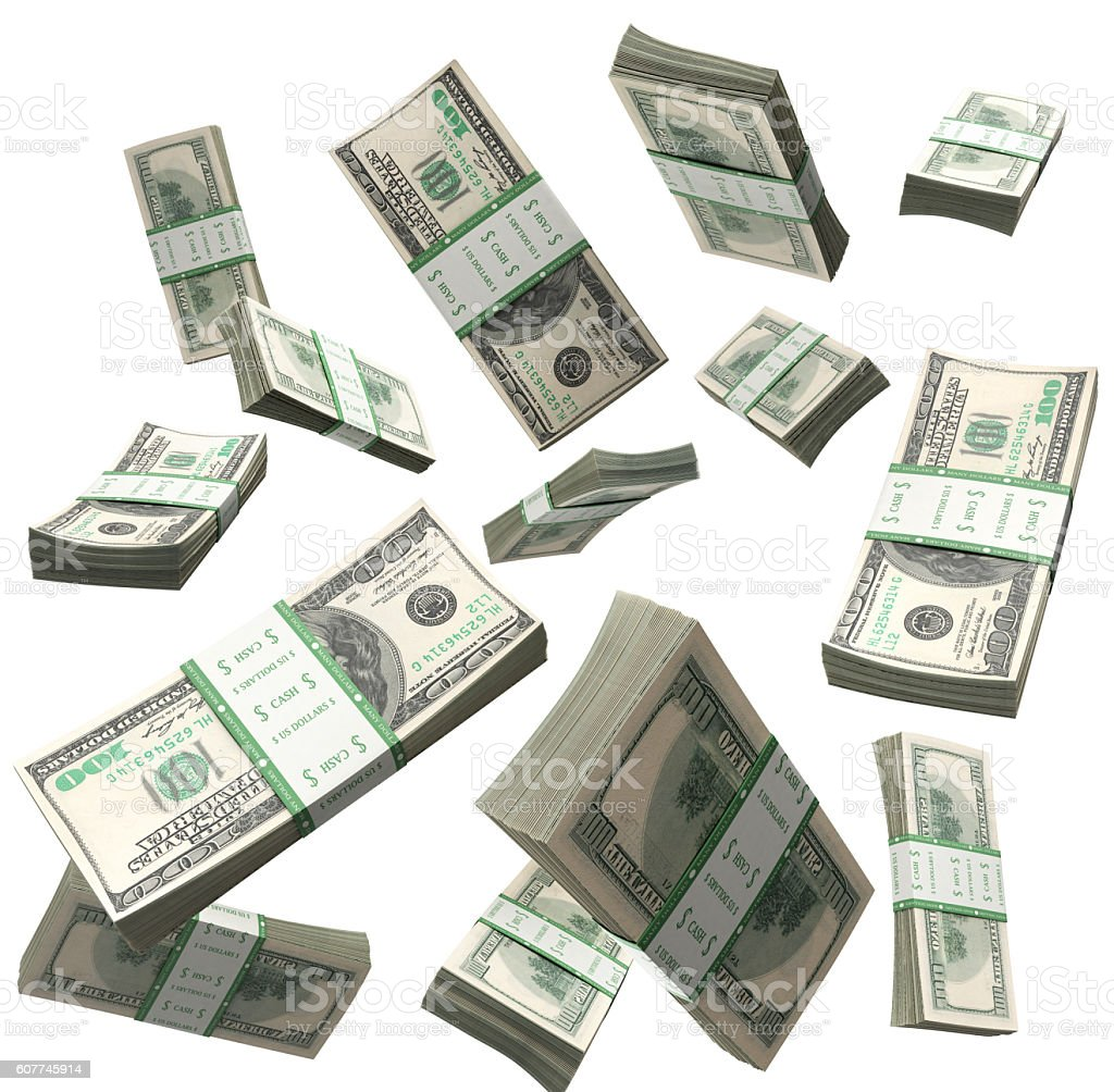 flying a pack of dollar bills 3d render stock photo