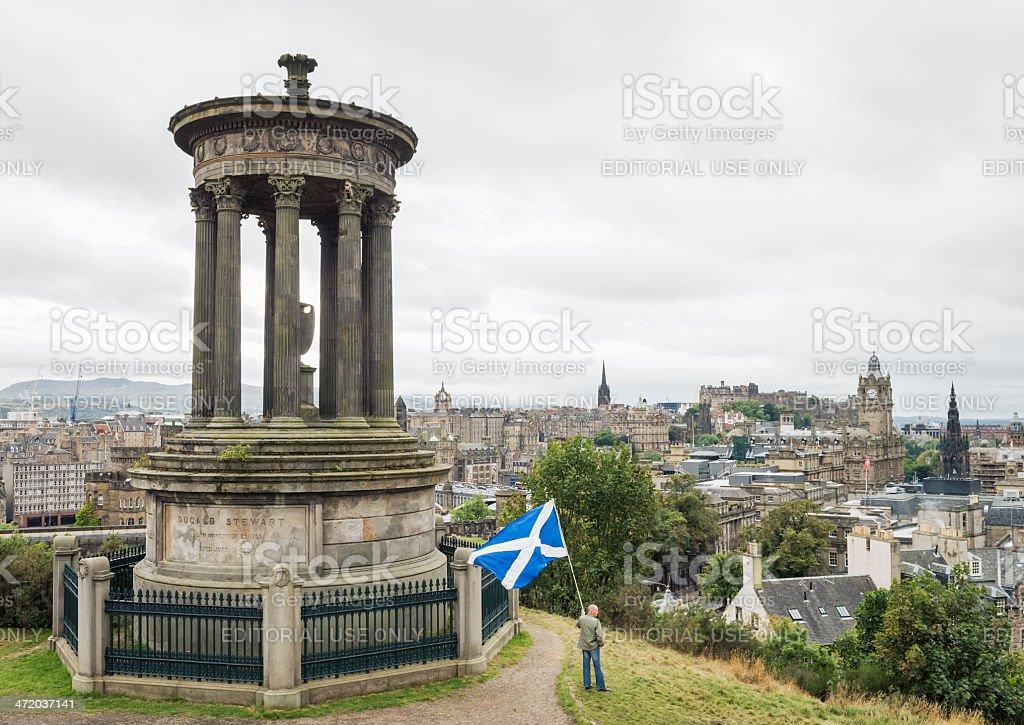 Flying a Saltire over Edinburgh stock photo