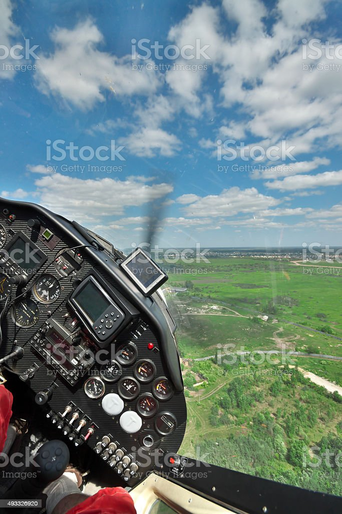 Flying a small plane stock photo