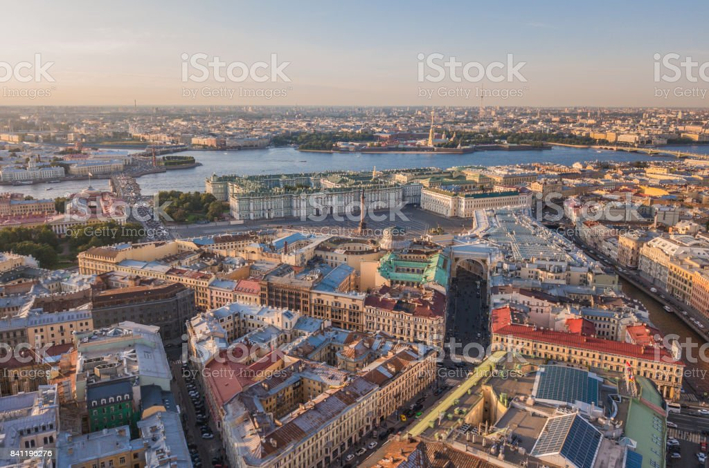 Flying above center of St. Petersburg stock photo