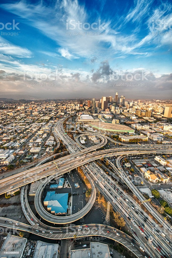 Flying above the big city stock photo