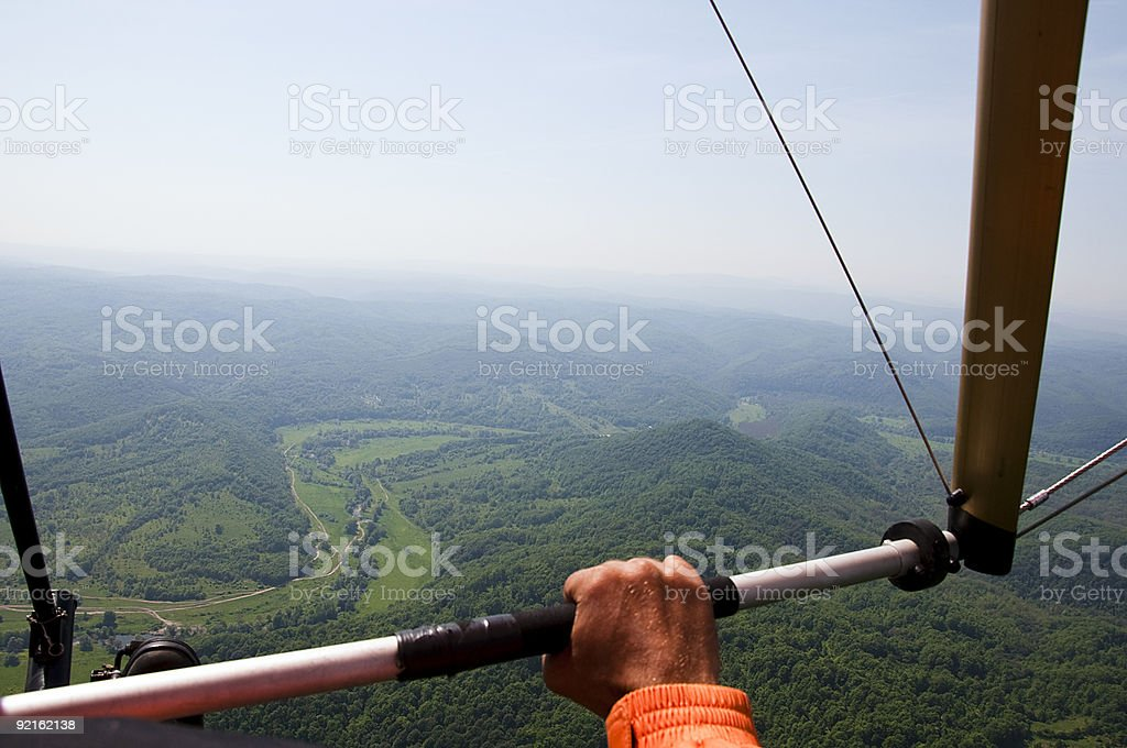 Flying above the sky with a plane stock photo