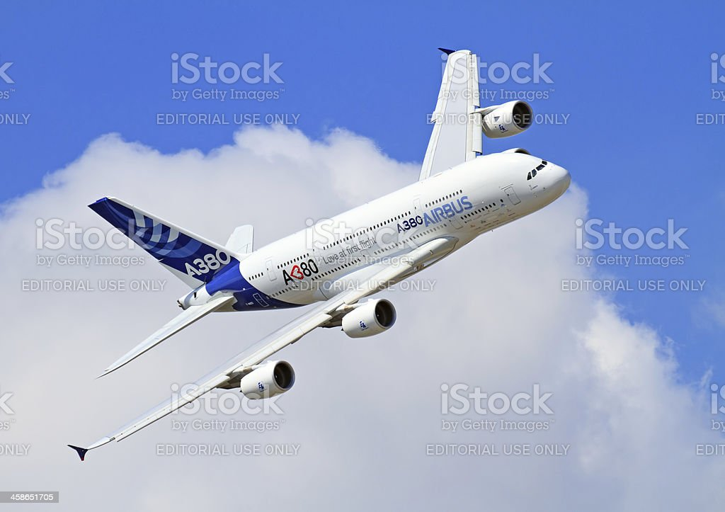 Flying Airbus A380 stock photo