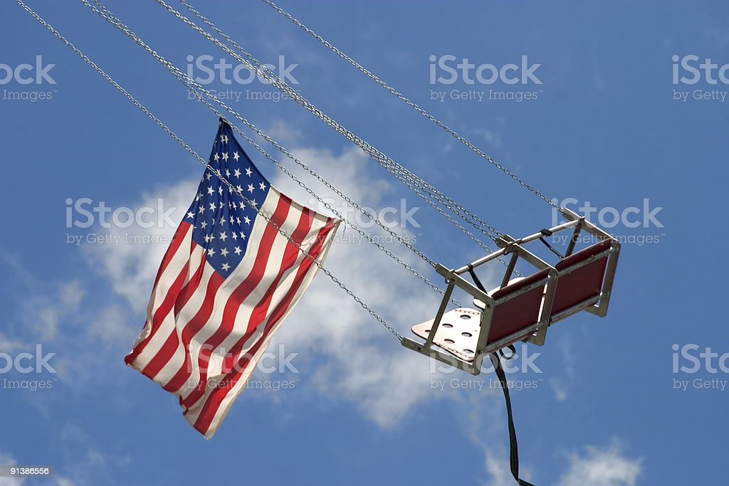 Flying american flag Carousel royalty-free stock photo