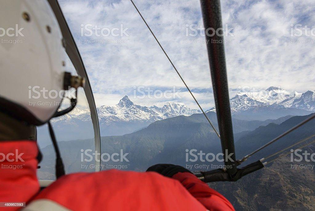 Flying an ultralight in Nepal stock photo