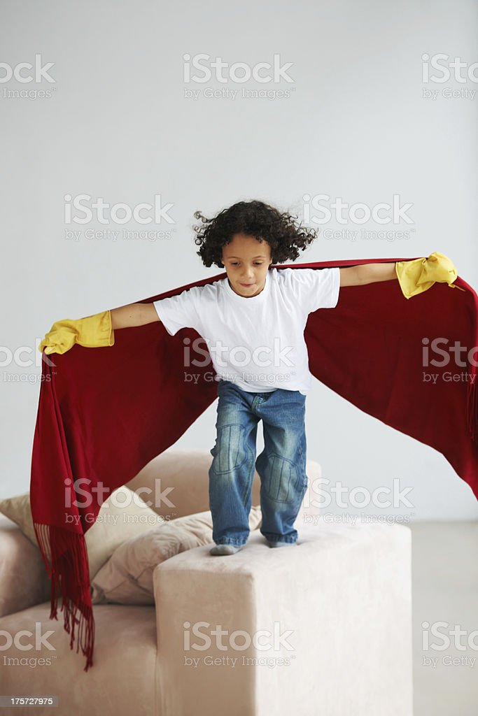 Flying around with his imagination royalty-free stock photo