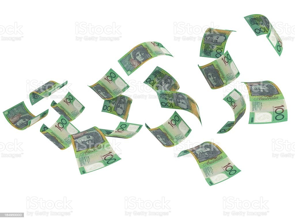 Flying Australian Currency stock photo