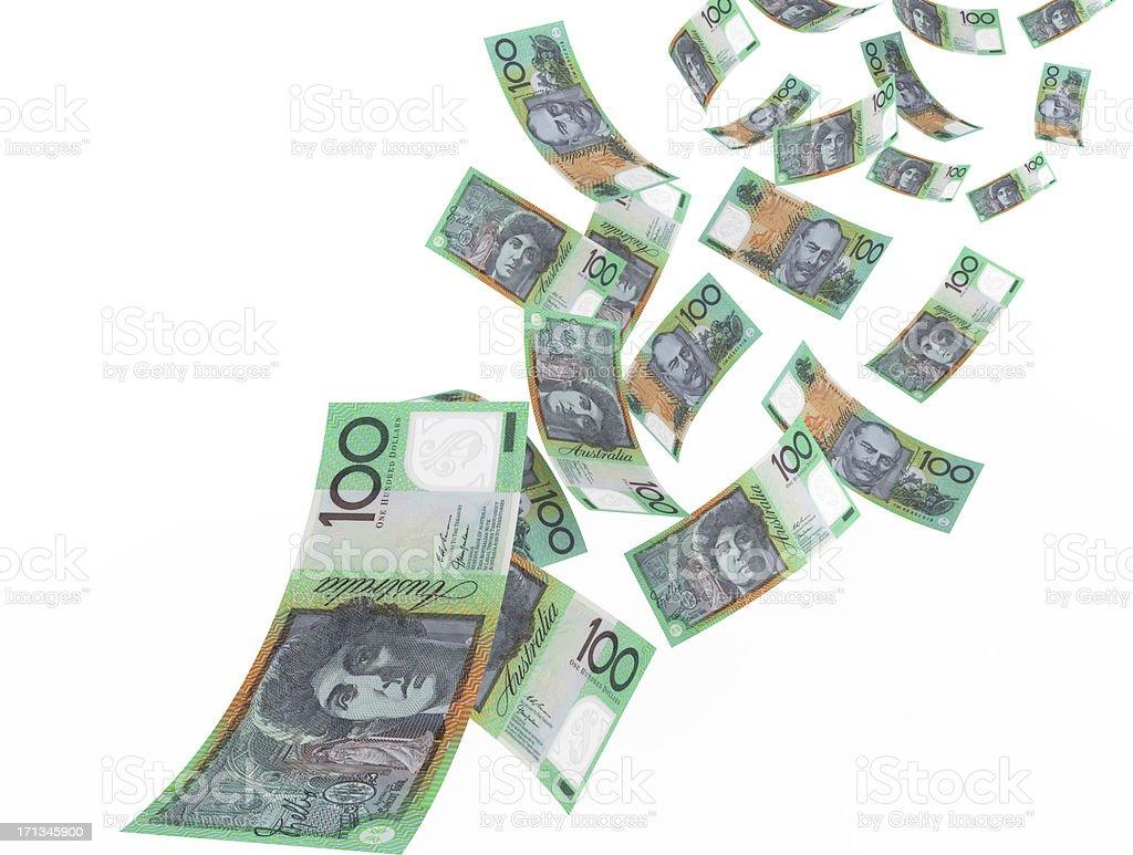 Flying Australian Dollars royalty-free stock photo