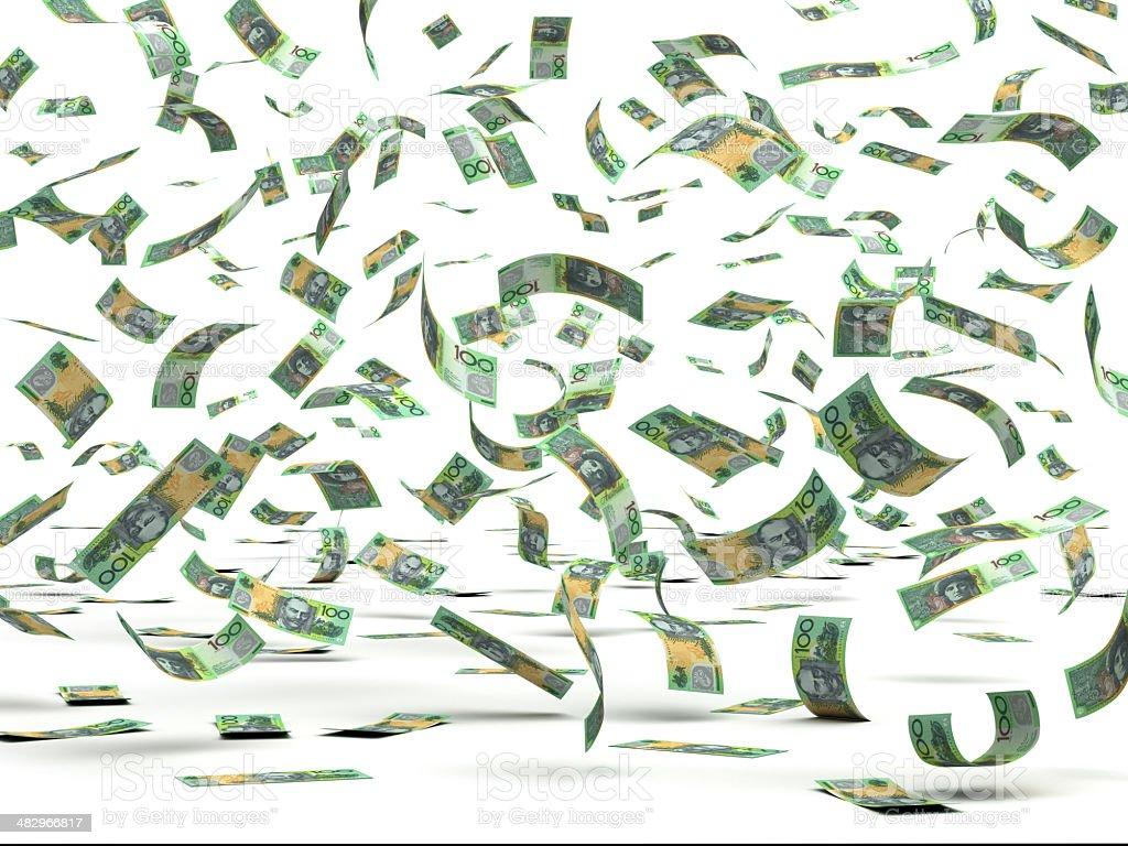 Flying Australian Dollars stock photo