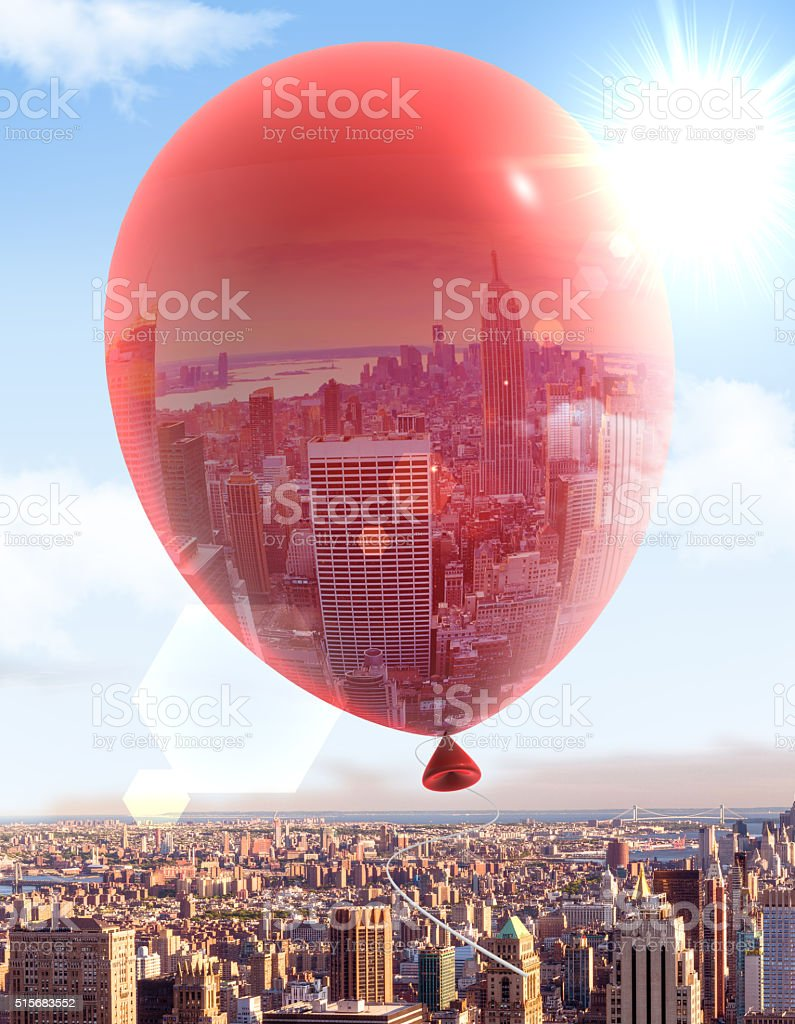 Flying Balloon Over The City stock photo