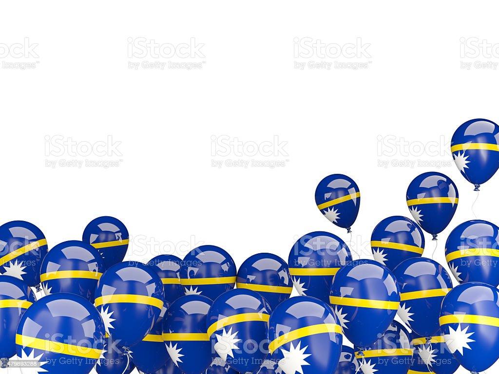 Flying balloons with flag of nauru stock photo