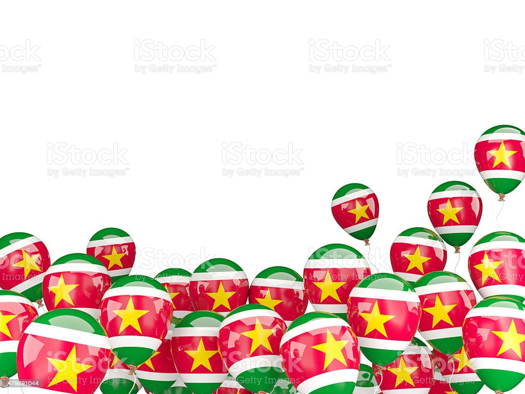 Flying balloons with flag of suriname stock photo