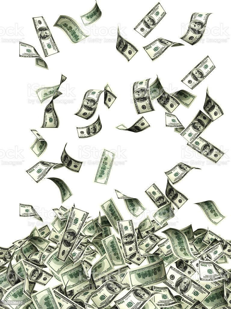 Flying banknotes of dollars royalty-free stock photo
