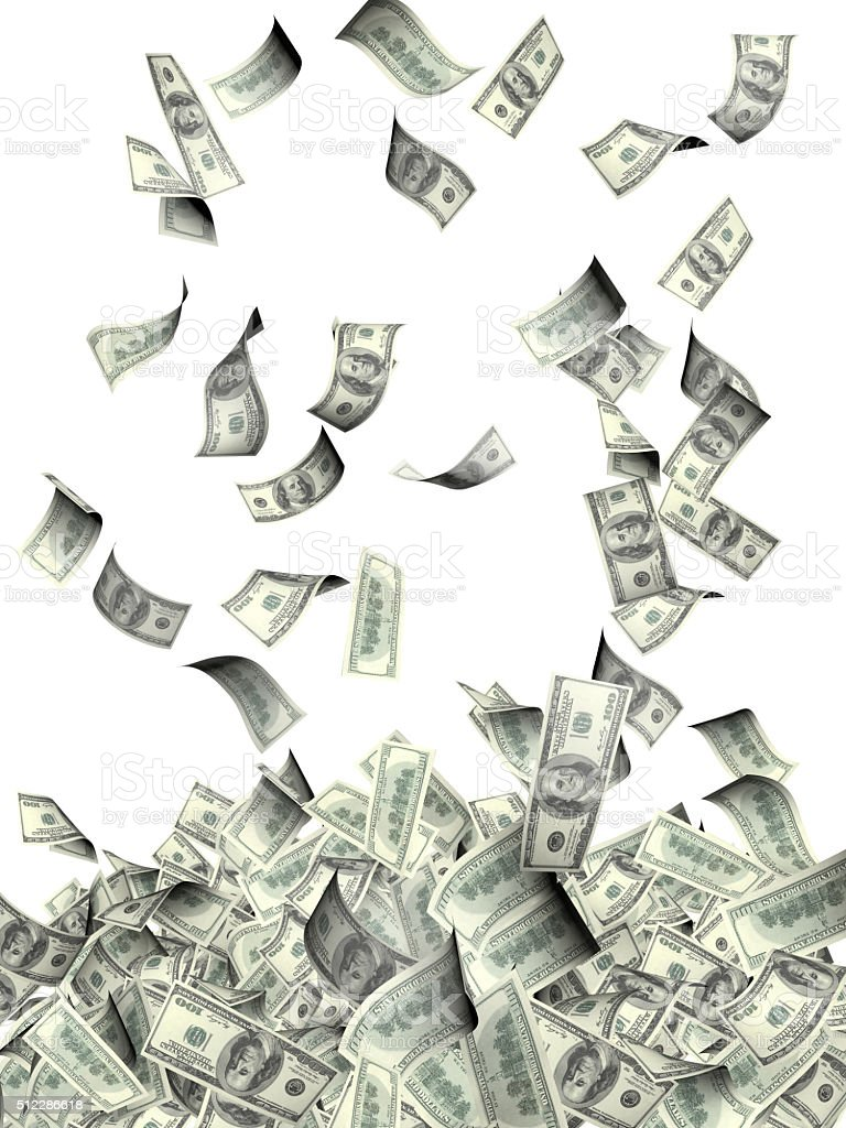 Flying banknotes of dollars stock photo