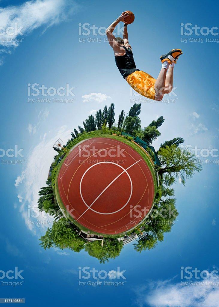 Flying basketball player stock photo
