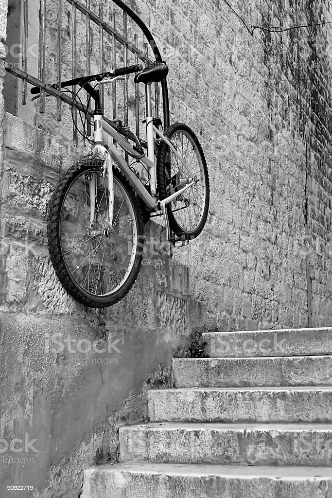 Flying bicycle royalty-free stock photo