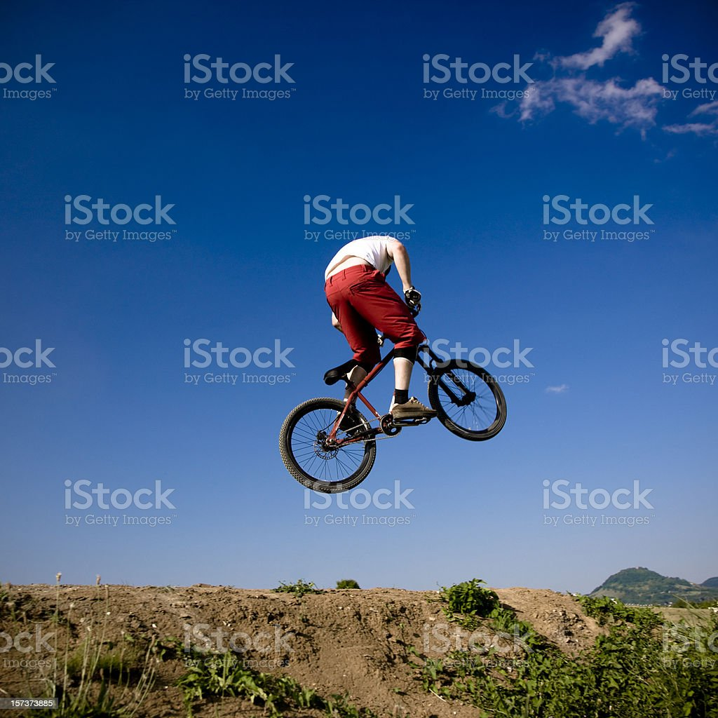 Flying Bike Dirt Jumping royalty-free stock photo