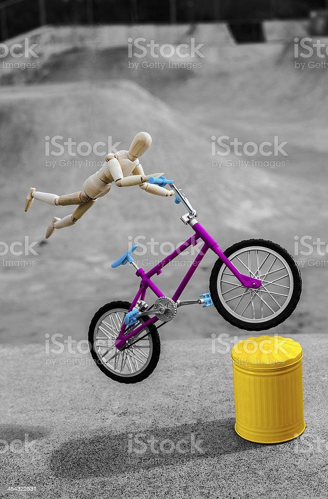 Flying Bike Leap stock photo