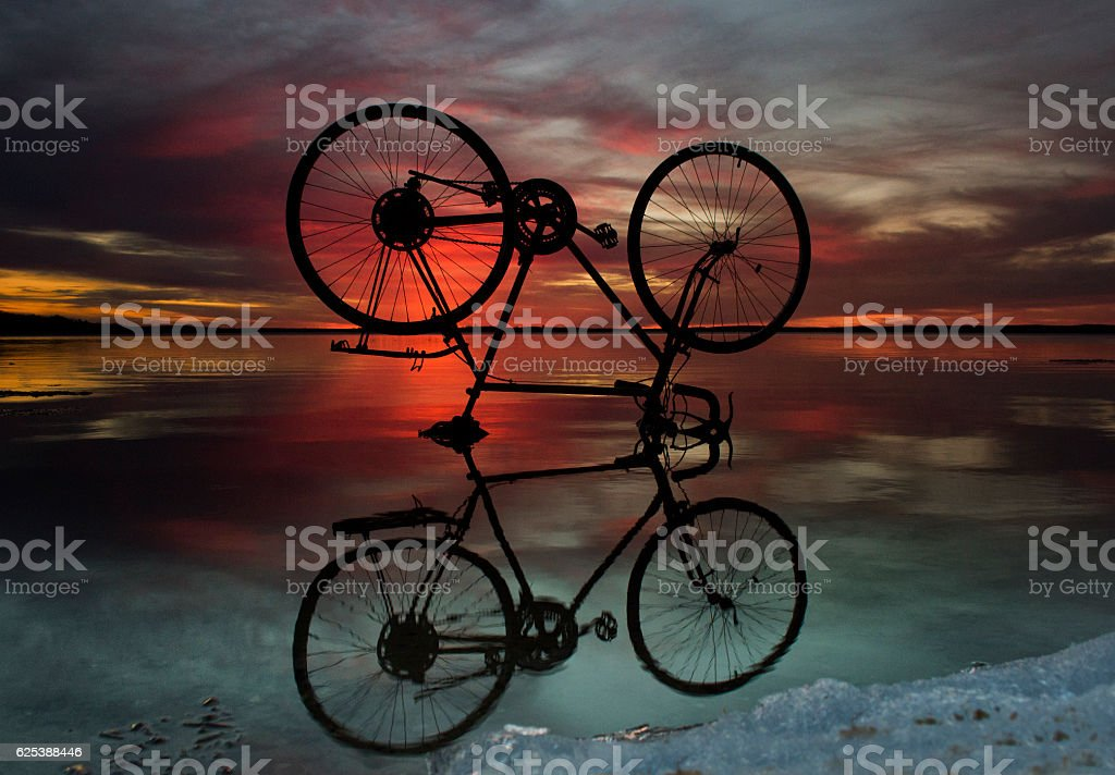 Flying bike stock photo