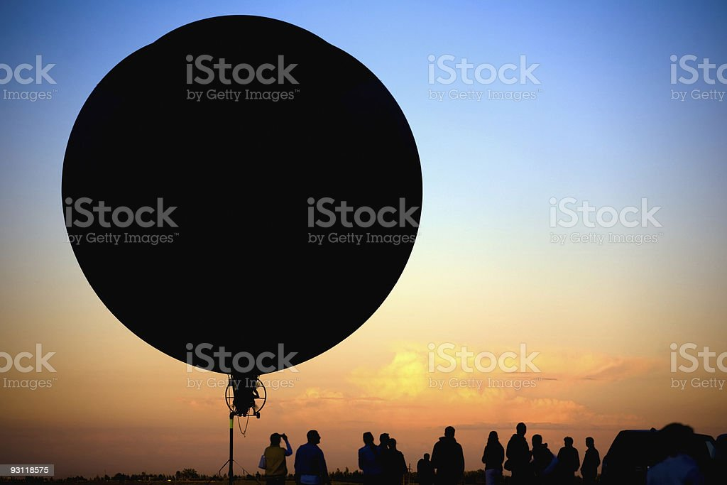 flying blimp silhouette royalty-free stock photo