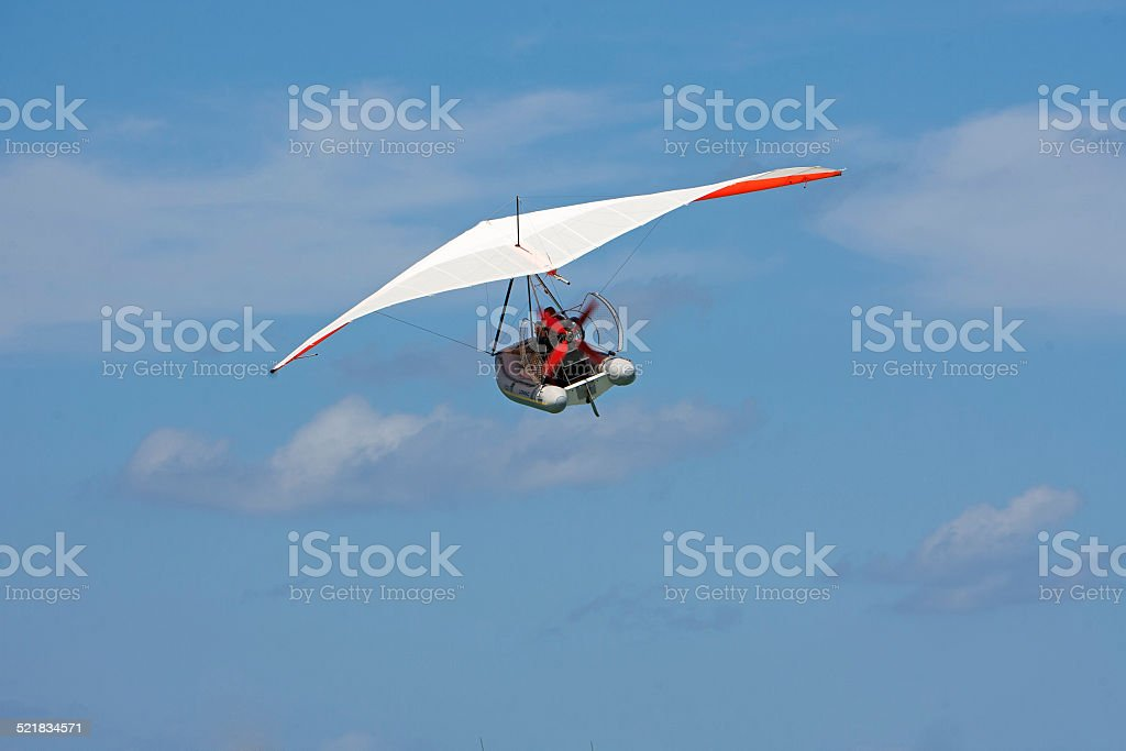 Flying boat in the air. stock photo