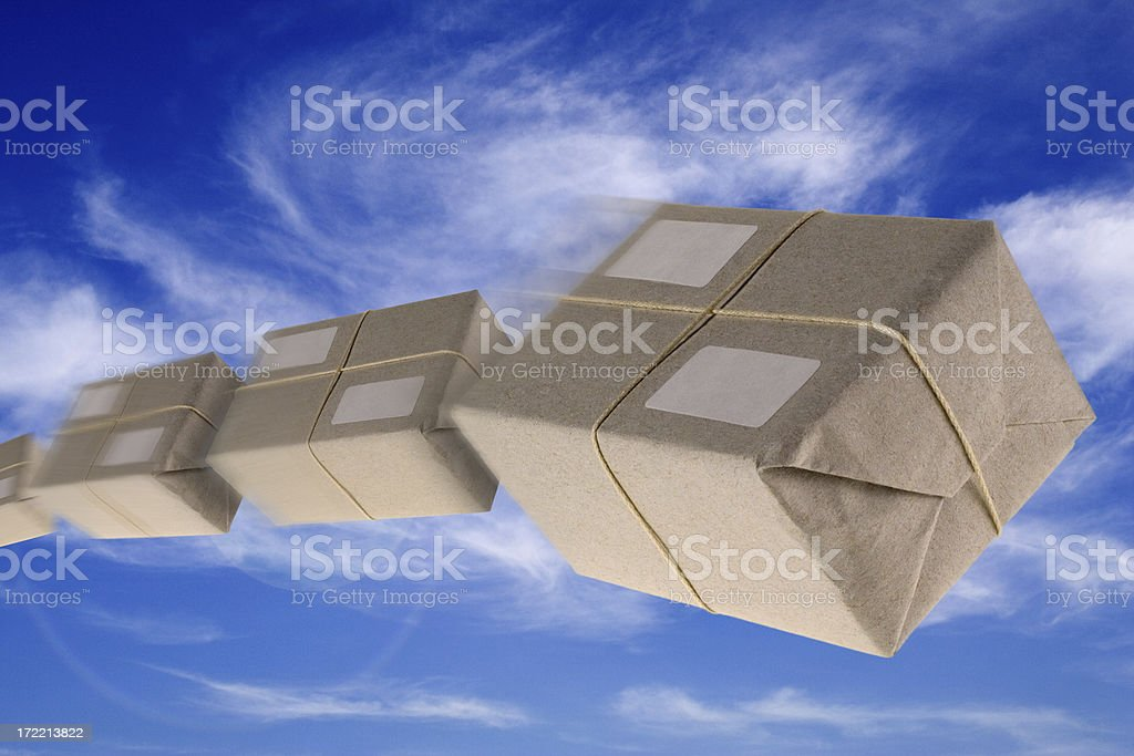 Flying Boxes - Mail Order royalty-free stock photo