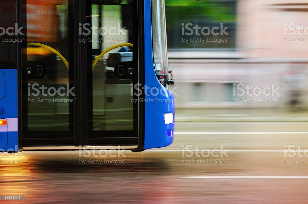 Flying bus in the city traffic, rush hour royalty-free stock photo