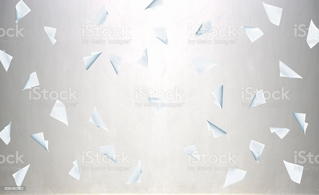 Flying business blank paper stock photo