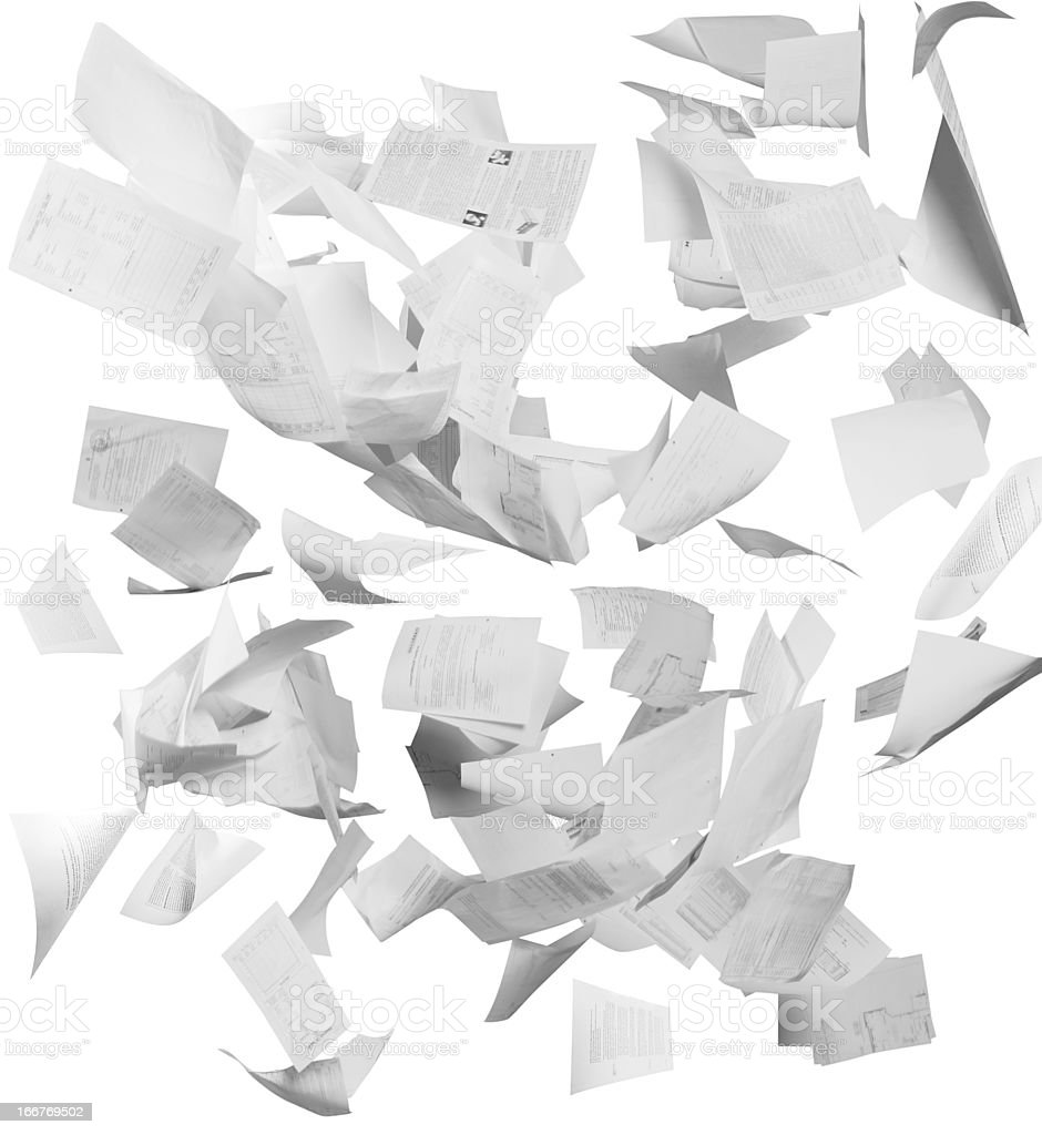Flying business documents stock photo