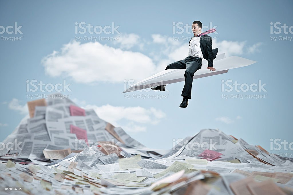 Flying Businessmen royalty-free stock photo
