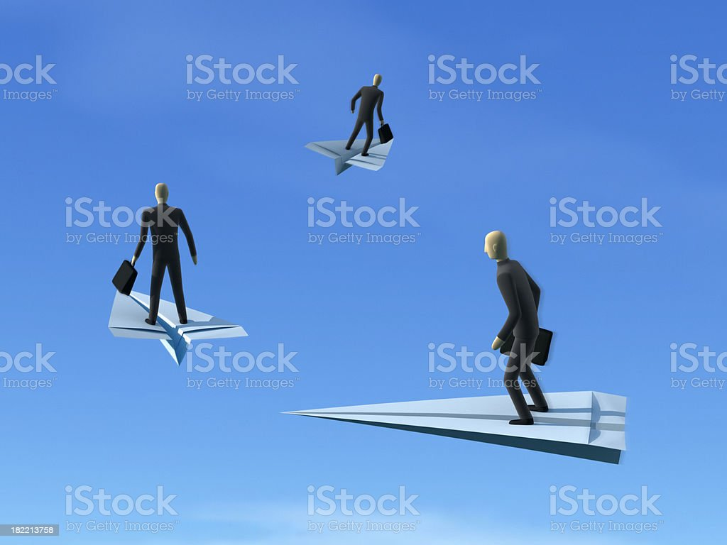 Flying Businessmen XL+ royalty-free stock photo