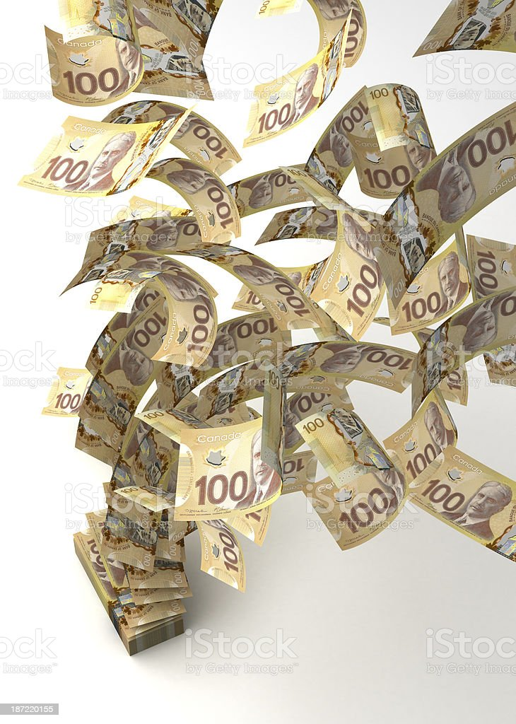 Flying Canadian Dollar royalty-free stock photo