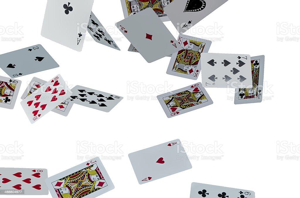 Flying cards on white background stock photo