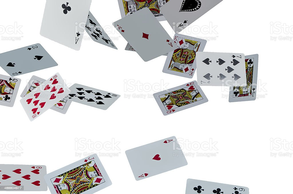 Flying cards on white background stock photo