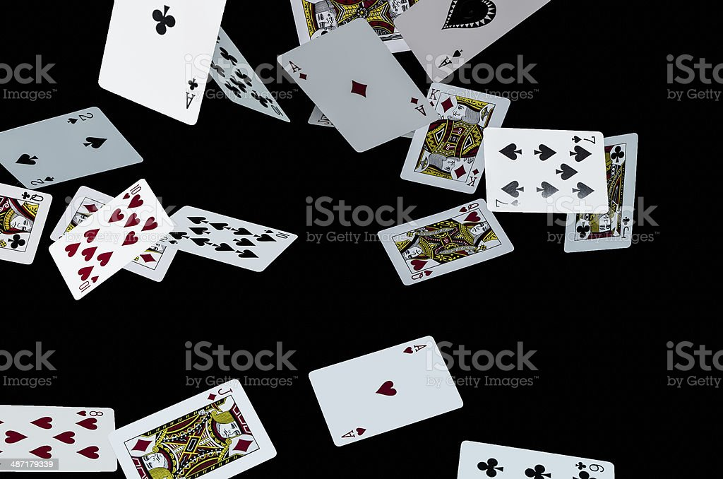 Flying cards stock photo