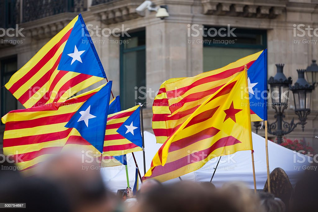Flying Catalonia flags royalty-free stock photo