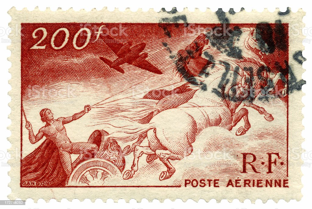 Flying Chariot French Air Mail Stamp stock photo
